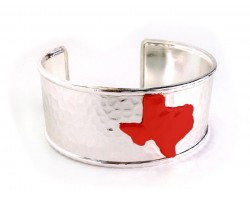 Red Texas Map Silver Cuff Bangle