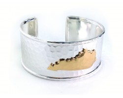 Silver Gold Kentucky Map Cuff Bangle