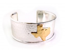 Silver Gold Texas Map Cuff Bangle