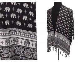 Black White Elephant Pattern Tassel Kimono