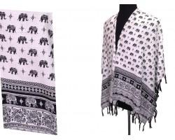 White Black Elephant Pattern Tassel Kimono