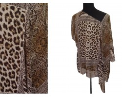 Brown Animal Pattern Button Poncho