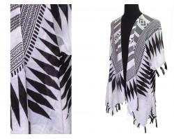 Black White Tribal Pattern Tassel Kimono.