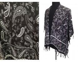 Black White Paisley Pattern Tassel Kimono