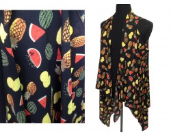 Black Fruit Theme Sleeveless Cardigan