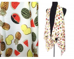 White Fruit Theme Sleeveless Cardigan