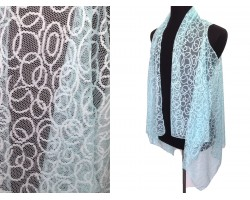 Mint Circular Pattern Lace Sleeveless Cardigan