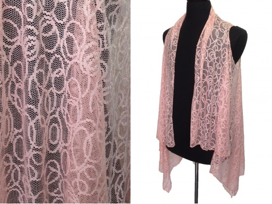 Peach Circular Pattern Lace Sleeveless Cardigan
