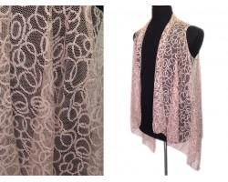 Pink Circular Pattern Lace Sleeveless Cardigan
