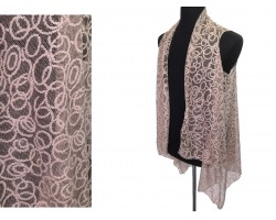 Taupe Circular Pattern Lace Sleeveless Cardigan