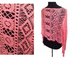 Coral Crochet Lace Fringe Poncho