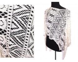 Off White Crochet Lace Fringe Poncho