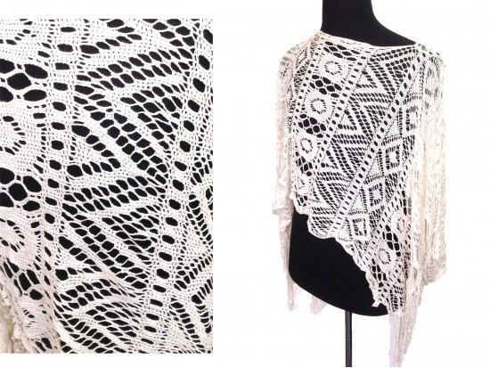 Off White Crochet Lace Fringe Poncho