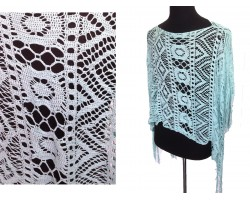 Light Turquoise Crochet Lace Fringe Poncho