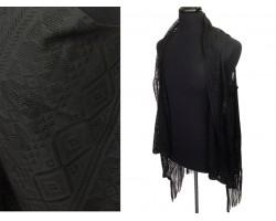 Black Diamond Lace Fringe Sleeveless Cardigan