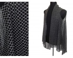 Black Quatrefoil Lace Sleeveless Cardigan