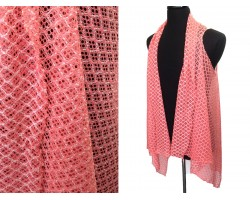 Coral Quatrefoil Lace Sleeveless Cardigan
