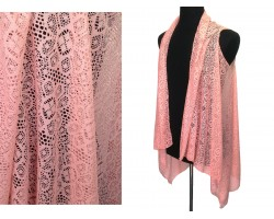Coral Floral Daisy Lace Sleeveless Cardigan