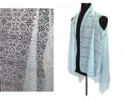 Turquoise Floral Daisy Lace Sleeveless Cardigan