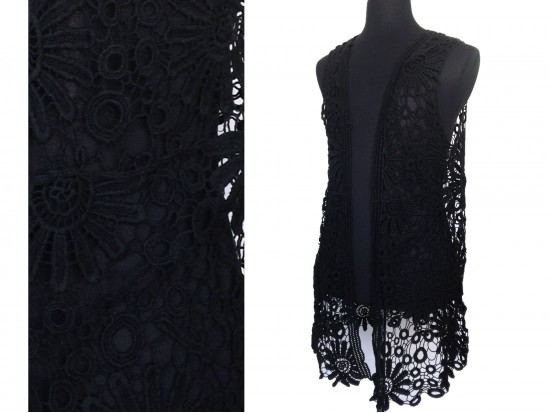 Black Crochet Floral Sleeveless Cardigan
