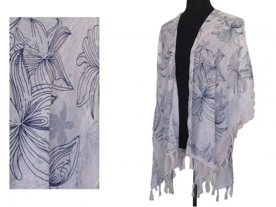 Beige Tropical Floral Tassel Kimono