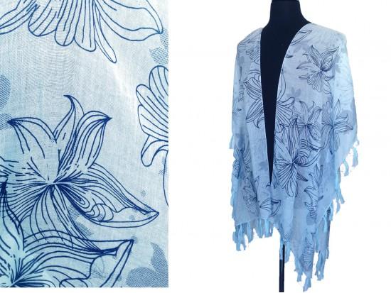 Turquoise Tropical Floral Tassel Kimono