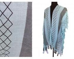 MInt Green Geometric Pattern Tassel Kimono