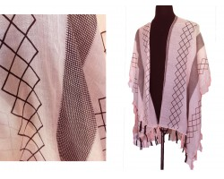 Light Peach Geometric Pattern Tassel Kimono