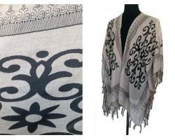Brown Oriental Pattern Tassel Kimono