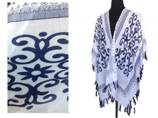 Navy Blue White Oriental Pattern Tassel Kimono