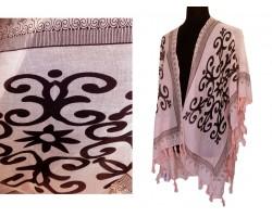 Light Peach Oriental Pattern Tassel Kimono
