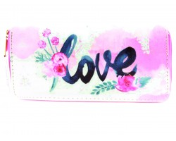 Pink Love Flower Vinyl Clutch Wallet