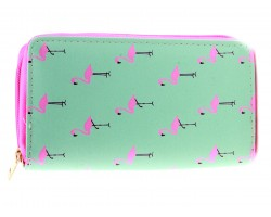 Mint Pink Flamingo Print Vinyl Clutch Wallet
