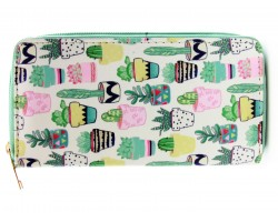 Multi Cactus in Pots Print Vinyl Clutch Wallet