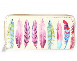 Multi Feather Print Vinyl Clutch Wallet