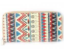 Multi Tribal Print Vinyl Clutch Wallet