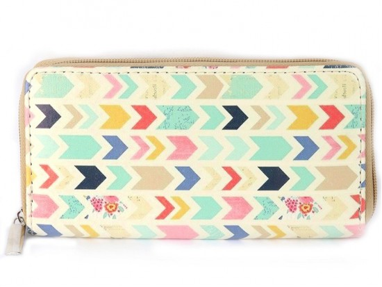 Multi Chevron Print Vinyl Clutch Wallet
