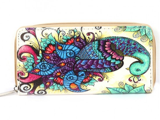 Multi Peacock Paisley Print Vinyl Zipper Wallet