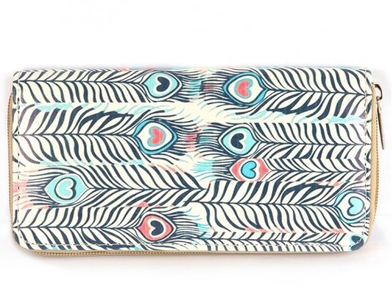 Multi Peacock Feathers Vinyl Clutch Wallet