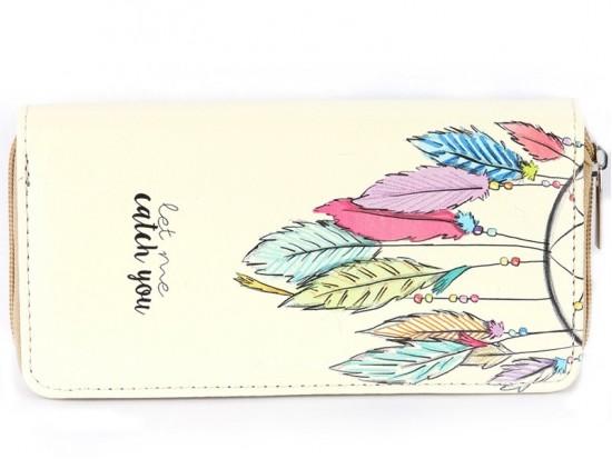 Multi Dream Catcher Feathers Vinyl Clutch Wallet