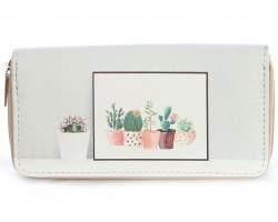 Gray Cactus in Pots Vinyl Clutch Wallet