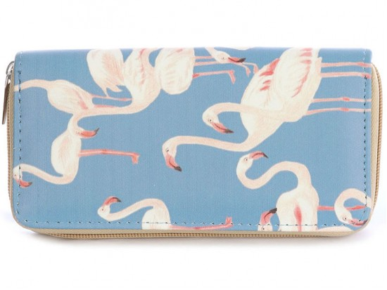 Turquoise Flamingos Vinyl Clutch Wallet