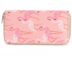 Pink Flamingos Vinyl Clutch Wallet