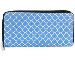 Blue White Quatrefoil Pattern Vinyl Clutch Wallet