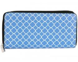 Blue White Quatrefoil Pattern Vinyl Clutch Wallet