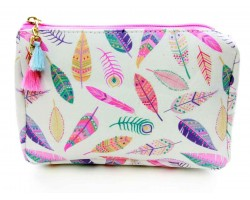 Multi Feather Tribal Print Vinyl Bag Accessory