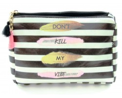Black White Stripe Vibe Vinyl Bag Accessory