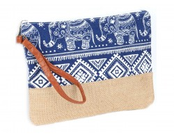 Blue Boho Elephant Print Jute Bag