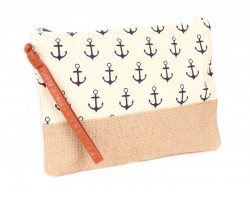 Beige Anchor Print Jute Bag