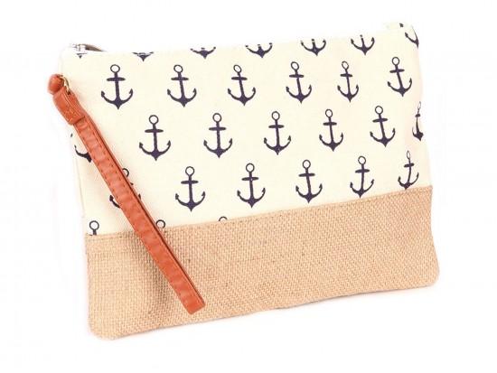 Beige Anchor Print Jute Bag